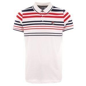 FILA Men's GEEZA White Striped LOGO Polo Shirt